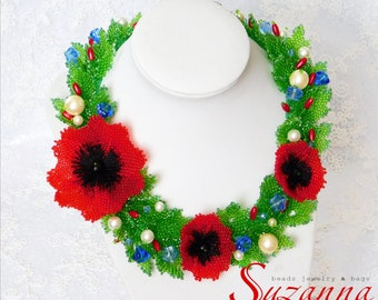 Exclusive Flowers evening necklace red poppy Statement Fashion Floral jewelry seed bead bohemian necklace Ethnic personalized gift