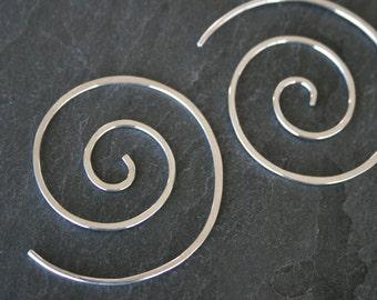 Spiral Earrings Sterling Silver Swirl Shaped Wave Koru Simplicity Minimal Zen Size Medium Solid Sterling Silver