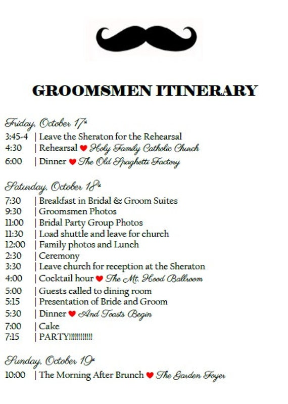 Bridal Party Itinerary Wedding Weekend