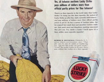 Lucky Strike Ad,Lucky Cigarettes Ad, Lucky Ad, Smoking Ad, Old Time Ad, Lucky Strike, Tobacco Ad, Classic Ad, Old Time Lucky Ad,Cigarette Ad