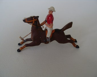 Rare  Vintage Miniature Lead Toy Polo Player Lead Toy Horse marked Foreign
