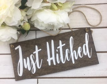 "Just Hitched Wedding Sign-Wood Wedding Sign-12""x 5.5"" Sign-Rustic Wedding Sign-Just Hitched Rustic Sign"