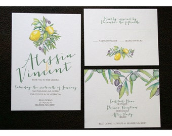 Rustic Italian Wedding Invitation - Rustic Countryside - Watercolor and Calligraphy - Olives and Lemons Wedding - Tuscan Inspired Invite