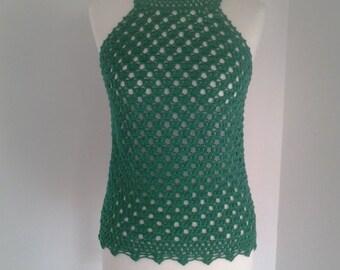 Green crochet TOP / handmade / 100% cotton yarn / Made to Order