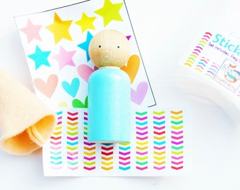 Easte Basket Mini Sticker Peg Doll Craft Kit -Retro Bright Rainbow - Kids Craft Kit - Design Your Own Peg Dolls With Sticker Outfits