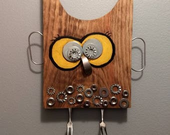 Upcycled wooden Owl
