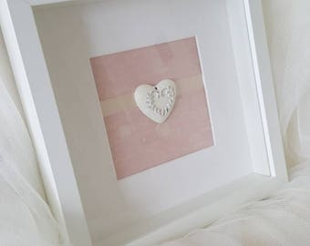 Shabby chic heart box frame in baby pink