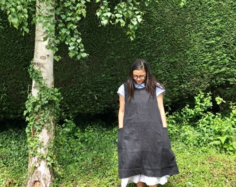 Black or grey linen japanese workwear crossover apron smock dress mori girl style