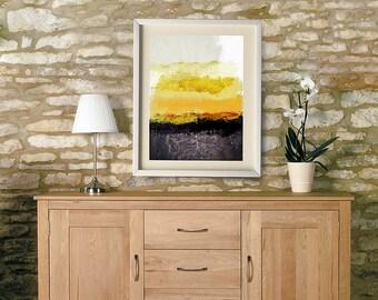 Charcoal Gray Yellow Art, Abstract Modern Home Art Decor, Yellow Charcoal Gray Living Room Decor,