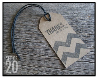 Chevron Kraft Thank You Tags, Kraft Paper Tags with Strings, Kraft Hang Tags for Mason Jars, Kraft Tags for Goodie Bags, Set of 20