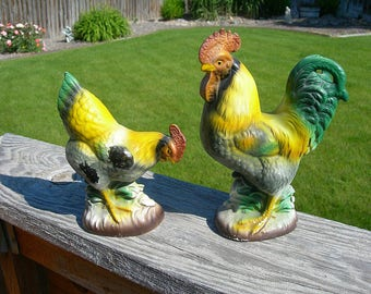 "Rooster & Hen Ceramic Figurines - Vintage c1950 Farmhouse Country Home Decor - Yellow and Green -  7"" Poultry Shelf Sitters - Kitchen Kitsch"