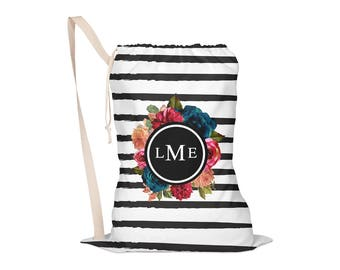 Laundry Bag, Oversided Drawstring Bag, Laundry Tote, Laundry Drawstring Bag, Monogrammed, Black & White Stripes, Flowers