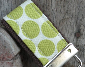 READY To Ship-MINI-MINI Keychain-Lime Dots on Brown