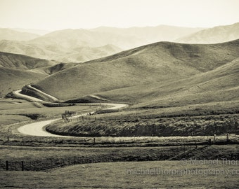 landscape hills mountain lazy meandering road cattle ranch country fine art photography sepia decor