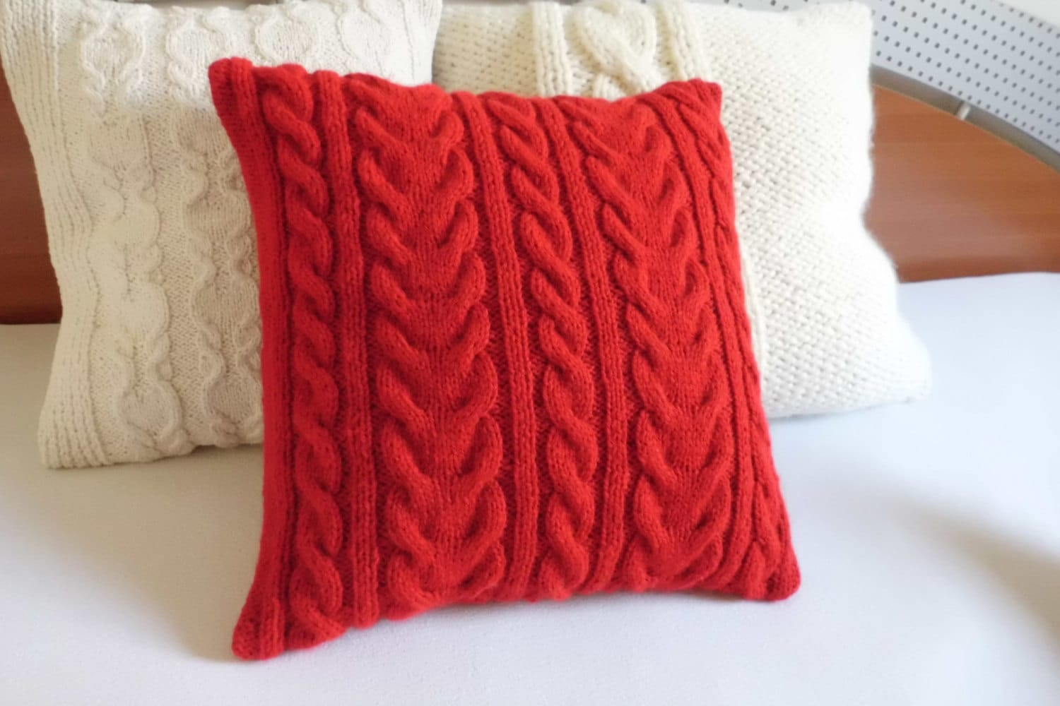 Custom Red Cable Knit Couch Pillow Case Knit Throw Pillow ~ Red Throw Pillows For Sofa