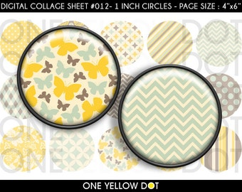 INSTANT DOWNLOAD - 1 Inch Circles Digital Collage Sheet - Yellow Teal Brown Patterns - Bottle Caps Scrapbooking Pendant Magnets Tags - 012