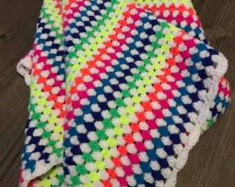 Beautiful Crocheted Neon and White Baby Blanket