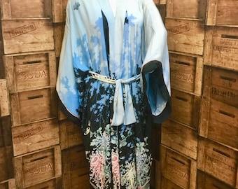 1920/30s Japanese silk kimono, silk gown, vintage kimono, 1920s vintage, WWII japanese kimono, reversable kimono, blue silk kimono.