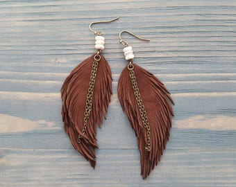 Brown Leather Feather Earrings Bronze Leather Earrings Boho Dangle Earrings Long Bohemian Earrings Gemstone Leather Earrings Boho Jewelry