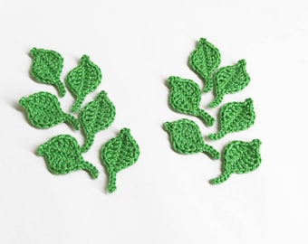 Crochet leaves, 4x2 cm , 12 pc., small appliques,  shamrock green