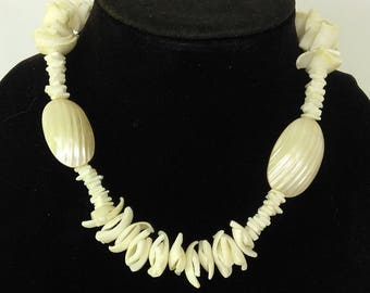 1960's Osmena Pearl Shell Necklace Barrel Clasp, Spiked Shell Necklace, White Iridescent Ribbed Shells