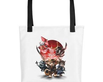 Cat Impersonate Japan Samurai Warrior and Ninja - Tote bag