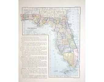 1887 FLORIDA ANTIQUE MAP -  original antique print - map united states of america