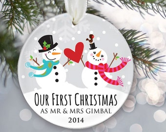 Our First Christmas as Mr & Mrs Christmas Ornament, Personalized Christmas Ornament, Snowman Ornament, Couple's Gift, Newlywed Gift OR264