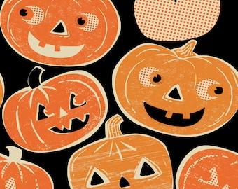 Pumpkin Fabric | Halloween Fabric | Jack O Lantern Print | Pumpkin Print | Vintage Halloween | Orange | Black | Holiday | Cute Pumpkins