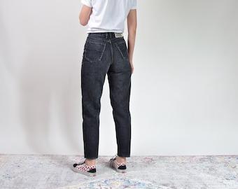 80s Jinglers mom jeans fade out black denim high waist pants 29/30