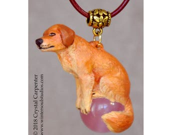 Golden Retriever Dog - Collectible Hand Painted Canine Necklace Pendant Ornament Sculpture pet breed