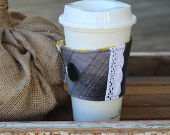 Flannel and Lace Fabric Cup Sleeve, Coffee Cup Cozy, Reusable Fabric Cup Sleeve, Flannel/Lace, Gift Idea, Coffee Gift, Gray Flannel