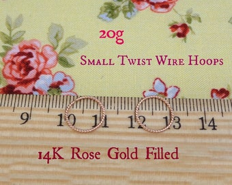 Small Rose Gold Filled Twist Wire 20g Endless Hoops
