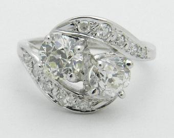 Antique Diamond Ring Vintage 14K White Gold 1.72 ct Old Miner Diamond Statement Ring Size 6