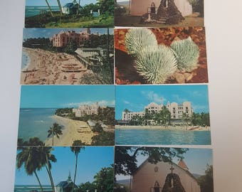 Set Of Eight Vintage Postcards From Hawaii