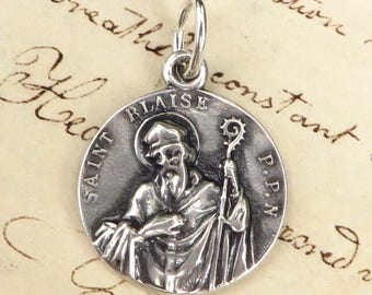St Blaise Medal - Patron of throat ailments - Sterling Silver Antique Replica
