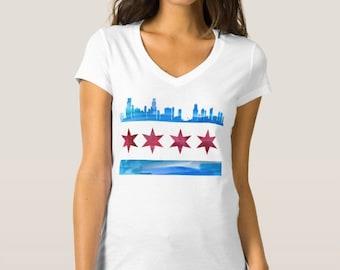 Chicago Flag Skyline V Neck Shirt