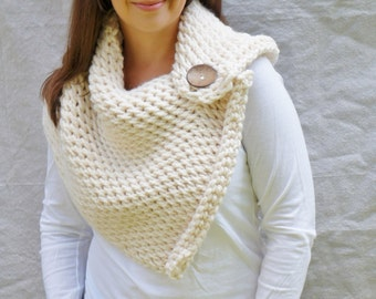 cowl, chunky, Scarf, Shoulder warmer,shawl, Wrap, button, The Anatole Warmer - fisherman