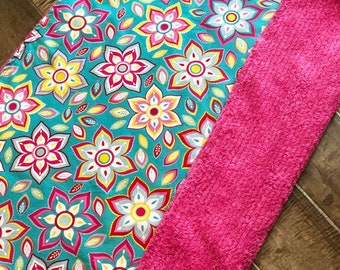 Baby Blanket  - Blue Floral - Designer Baby Blanket  - Pink Chenille Backing