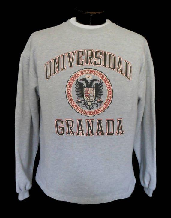 Vintage 80s 90s Granada University Spain Sweatshirt, 1980s 1990s Universidad Granada Gray Crewneck, Size Unisex Adult Large to X Large