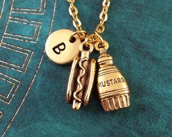 Hot Dog Necklace Mustard Necklace Hotdog and Mustard Charm Necklace Hotdog Necklace Hot Dog Pendant Necklace Food Jewelry Initial Necklace