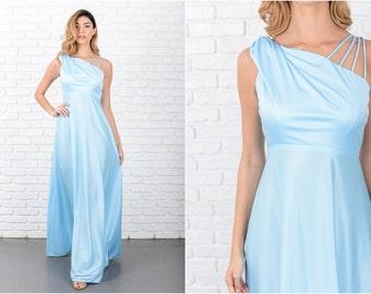 Blue Maxi Dress Boho Vintage 70s  Hippie Strappy One shoulder XS 8009 vintage dress 70s dress blue dress maxi dress hippie dress