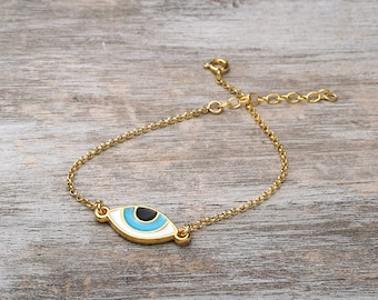 Evil eye Bracelet Gold Bracelet Dainty Bracelet Sterling Silver Gold Plated Blue Evil Eye Bracelet Birthday gift