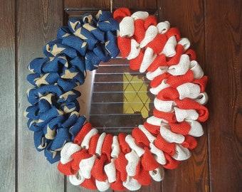 Patriotic Wreath, Burlap Flag, Burlap American Flag, American Flag,  American Red White and Blue Flag Wreath, Patriotic Wreaths, Military