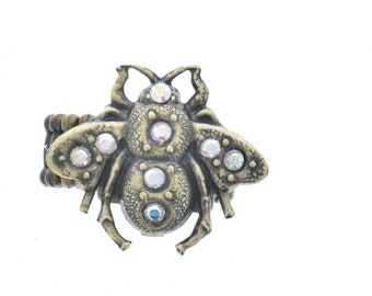 Crystal bee ring, one size fits all, sold 1 each, Ring-1