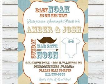 Mustache Onesie Baby Shower Invitation