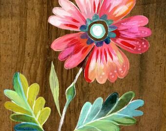 belle fleur botanical art print | watercolor painting | floral artwork | katie daisy wall art | 8x10 | 11x14