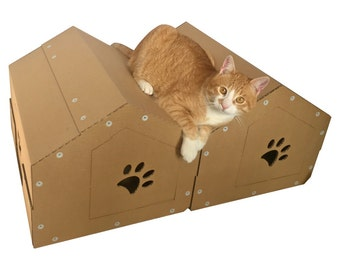 The Twins Cardboard Cat House, Cat Tree,Cat Furniture, Cat Toy, Cat Bed, Cat Cave, Pet House, Cardboard Furniture,Cat Home Decor,Home Décor