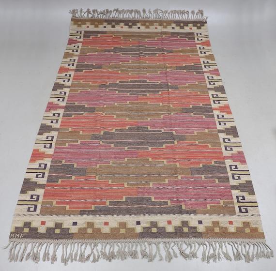 """Märta Måås-Fjetterström (1873-1941) rölakan, or flat weave kilim Kelim called""""Bruna Heden"""", designed 1931, size 303 x 208 cm."""