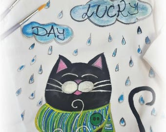Lucky Cat – lucky, hand-painted t-shirt for all kids
